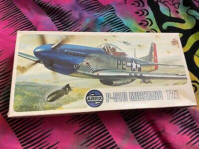 Airfix Aeroplane P-51d Mustang Vintage Model Kit 1:72 Scale New • 5.50£