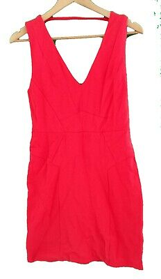 RIVER ISLAND CORAL RED STRETCH DRESS - UK Size 12 • 7.99£