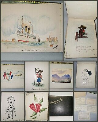 £120 • Buy 1916 Sketch Autograph Book Album Art Paintings Drawings Poems + Music Exam Cards
