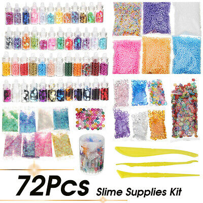 AU25.12 • Buy 72 Pack Slime Beads Charms Include Slime Tools Foam Balls Fishbowl Pearls