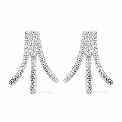 TJC White Diamond Stud Earrings for Women for Her in Platinum Plated Silver