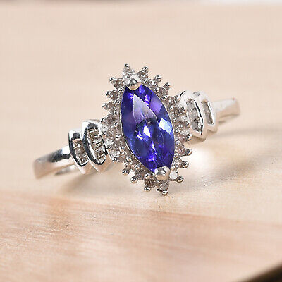 £67.99 • Buy TJC Tanzanite Halo Ring For Women In Silver Size U With Diamond, TCW 1ct