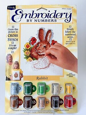 Embroidery By Numbers Cross Stitch Bunny Rabbit Easter Kit Hobby Craft 8 Yrs • 7.99£