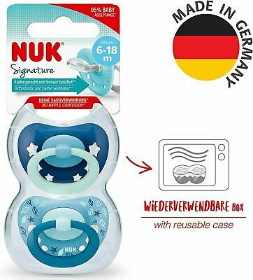 £5.99 • Buy NUK Signature Blue Silicone Soother Size 6-18 Months 2Pcs