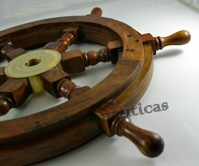 £37.79 • Buy 18  Nautical Wooden Ship Steering Wheel Pirate Décor Handmade Vintage Wall Boat