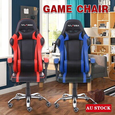 AU100.99 • Buy Executive Office Computer Gaming Chair Racer Recliner PU Leather Seat /Floor Mat