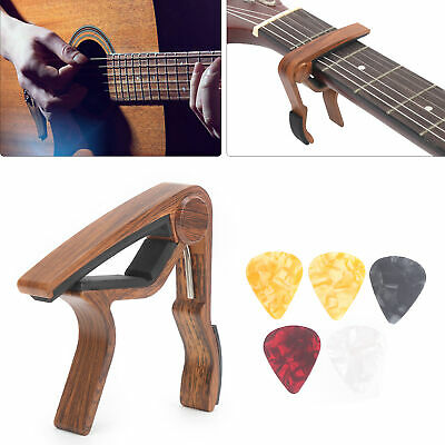$ CDN8.24 • Buy Guitar Capo And Handguard Pick Kit Wood Color Alloy Beginner Musical Accessories