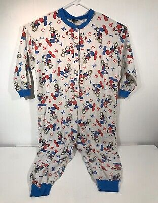 $29.24 • Buy Disney's Mickey Unlimited Footie Flannel Pajamas ADULT Size Large 1 Piece