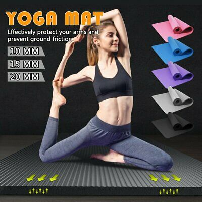 AU13.09 • Buy 10/15/20MM Thick Yoga Mat Pad NBR Nonslip Exercise Fitness Pilate Gym Durable AU