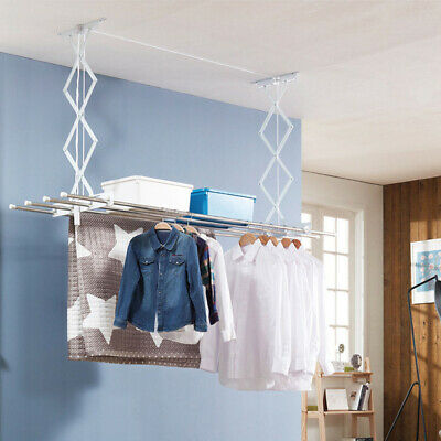 £23.99 • Buy Retractable Ceiling Clothes Dryer Laundry Pulley Airer Drying Space Rack Indoor