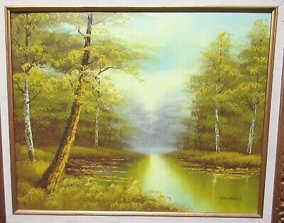 $ CDN302.39 • Buy Cantrell Original Oil On Canvas River Bayou Landscape Painting
