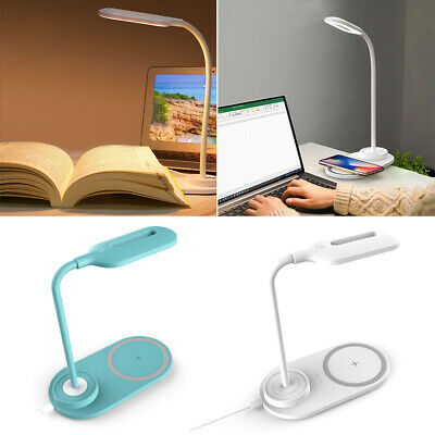 AU14.59 • Buy LED Dimmable Desk Lamp Flexible Touch Bedside Wireless Phone Charger Night Light