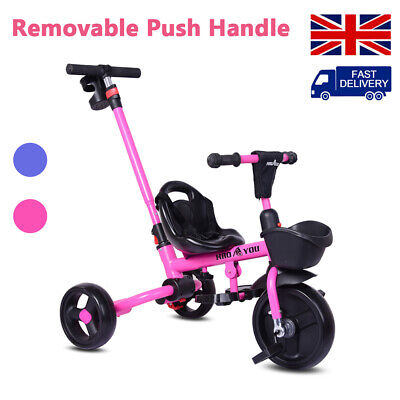 £35.90 • Buy Baby Kids Trike Pedal Tricycle 3 Wheeler Push Along Stroller With Parent Handle/