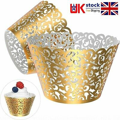 £3.99 • Buy Gold Cupcake Wrappers Lace Cut Liner Cupcake Muffin Paper Holders Party Decor UK