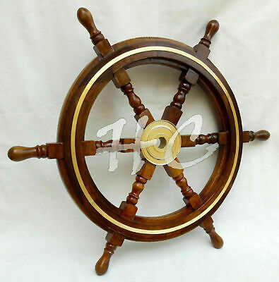 £49.50 • Buy 24  Brass Finishing Wooden Steering Ship Wheel Pirate Vintage Wall Boat Décor