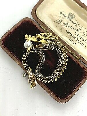 Gorgeous Goldtone Curled DRAGON Snake With Faux Pearl In Mouth Costume Brooch • 3£