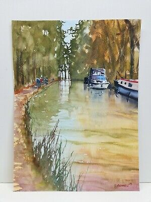 £23.50 • Buy Reflections On The Canal Original Watercolour Painting River Boats Art 111