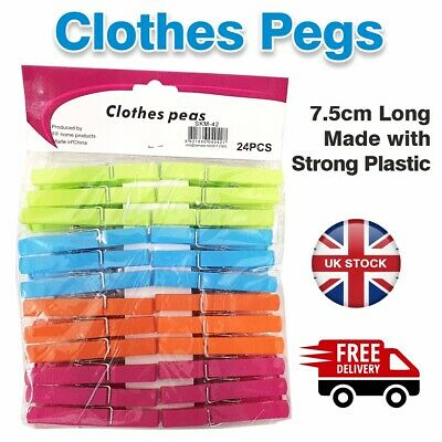 Heavy Duty Plastic Clothes Pegs Pine Laundry Washing Line Airer Sun Dryer UK • 3.49£