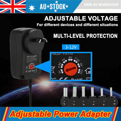 AU17.59 • Buy DC AC Adjustable Power Supply Adapter Converter 30W 3V 4.5V 5V 6V 7.5V 9V 12V AU