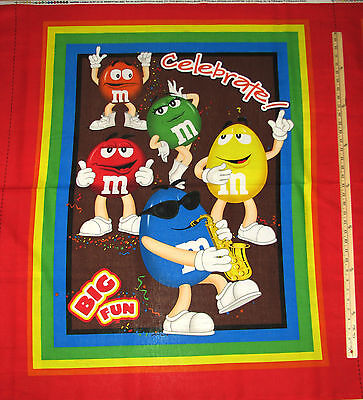 $6 • Buy M&M's M & M Big Fun Mars Candy Characters Red Blue Fabric Panel 1 Yard #11362