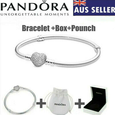 AU9.90 • Buy Genuine PAN DORA Moments Sparkling Heart Clasp Snake Chain Bracelet + Box +Bag