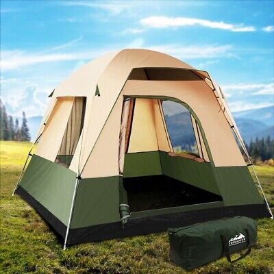 AU150 • Buy Weisshorn Family Camping Tent 4 Person Hiking Beach Tents Canvas Ripstop Green