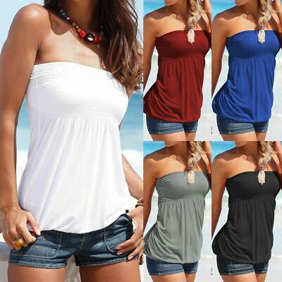 £7.82 • Buy Womens Boob Tube Bandeau Strapless Top Ruched Tank Blouse Summer T Shirt Vest UK