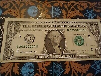 $10.50 • Buy Fancy Serial Number 1 Dollar Bill 6 0's