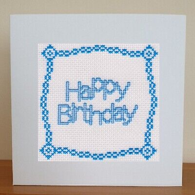 £6.95 • Buy Counted Cross Stitch Card Kit - Happy Birthday - Blue