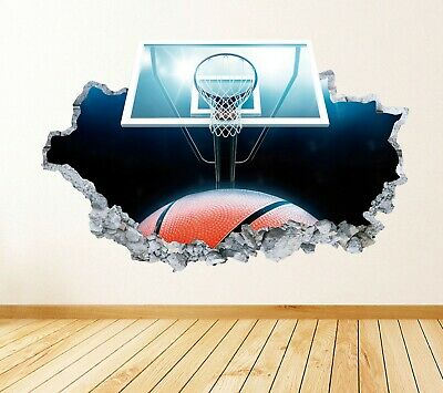 AU27.38 • Buy Basketball Smashed 3D Wall Decal Sports Vinyl Decor Sports Art Print