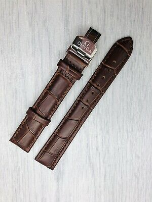 18mm Replacement For Omega Brown Genuine Leather Watch Strap With Silver Buckle. • 24.99£