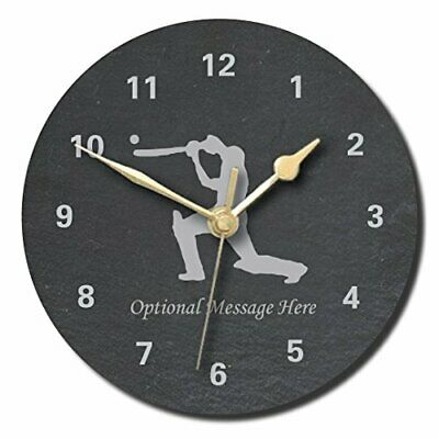 £28.99 • Buy Cricket Lover Slate Clock - Personalised With Text Of Your Choice(Large (300mm)