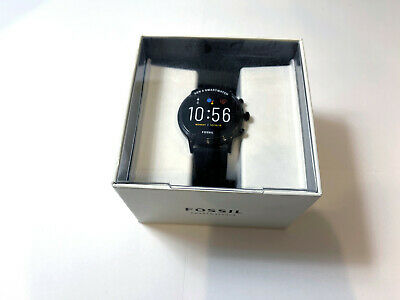 AU255.04 • Buy Fossil Gen 5 Carlyle Stainless Steel Touchscreen Smartwatch Black Silicon Band