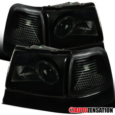$81.99 • Buy For 98-00 Ford Ranger Black Smoke Halo Projector Headlights+Corner Signal Lamps