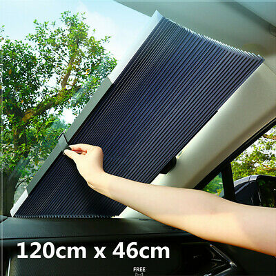 $27.27 • Buy Retractable Car Front Rear Window Sun Shade Visor Windshield Roller Blind 120cm