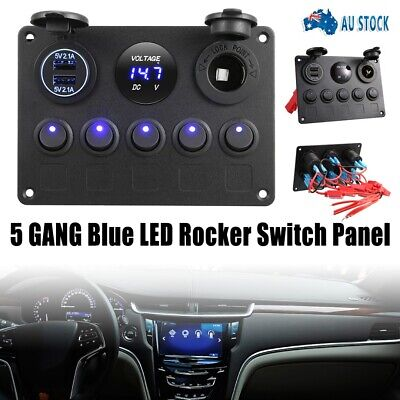AU30.50 • Buy 5 Gang ON-OFF Toggle Switch Panel 2USB Charger 12V For Car Boat Marine RV Truck
