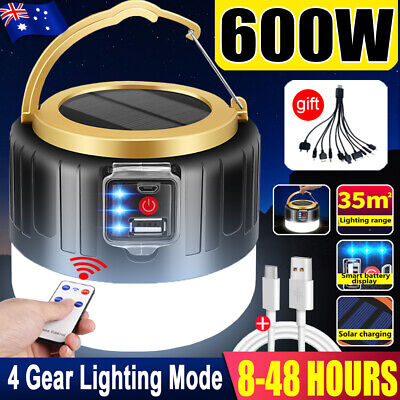 AU19.59 • Buy 100W LED Solar Light + Remote USB Rechargeable Tent Camping Emergency Outdoor AU
