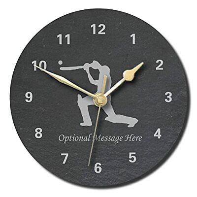 £28.99 • Buy Cricket Design Slate Clock - Personalised With Text Of Your Choice(Large (300mm)
