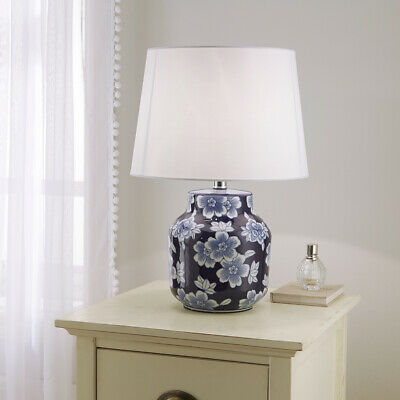 £69.99 • Buy Traditional Ceramic Floral Table Lamp In Blue And White Floral And White Shade