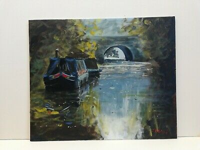£60 • Buy Canal Boat In Spring Morning Painting Art Narrow Barge Towpath River Landscape