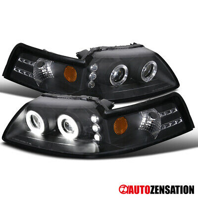 $63.99 • Buy For 1999-2004 Ford Mustang Black Halo Projector Headlights Lamps Left+Right