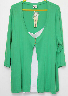 $ CDN5.18 • Buy Debbie Morgan Size M 3/4 Lenght Sleeved Green & White Top Tagged Brand New