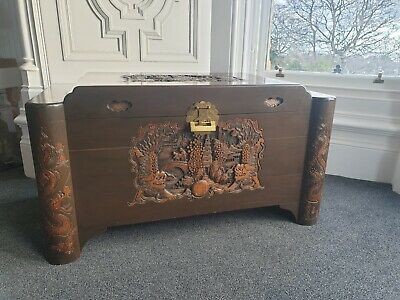 Oriental Chinese Camphor Carved Wooden Trunk Chest Coffee Table • 249.99£