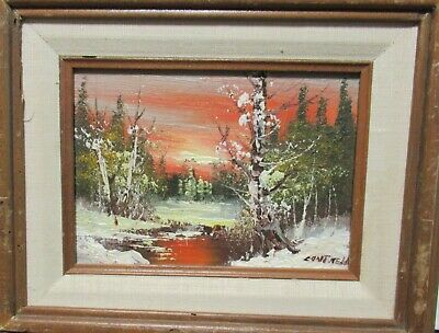$ CDN120.94 • Buy Cantrell Small Original Oil On Board Snow River Landscape Painting
