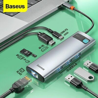AU14.99 • Buy Baseus Type C USB 3.0 HUB HDMI RJ45 PD SD 100W Charger Splitter Dock For MacBook