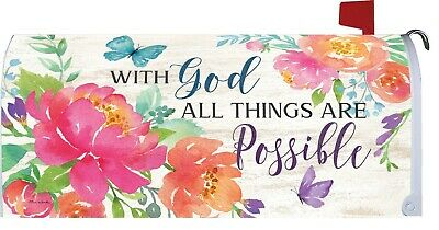 $18 • Buy With God All Things Are Possible Flower Butterfly Magnetic Mailbox Cover