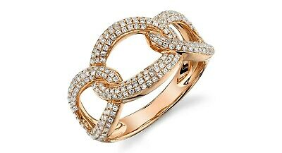 AU2621.89 • Buy Womens 0.55 CT 14K Rose Gold Round Cut Diamond Chain Link Knot Cocktail Ring
