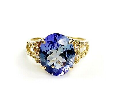 AU2300 • Buy 18K Yellow Gold 4.46ct Oval Tanzanite And 0.08 Ct Diamond Ring 3.80gm TW