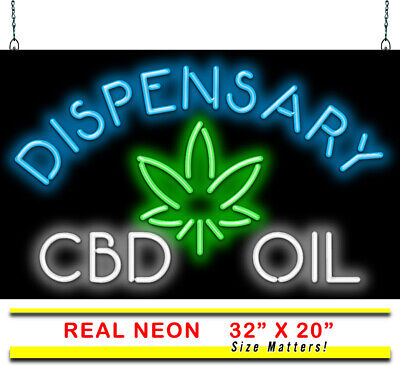 $ CDN437.73 • Buy Dispensary Oil Neon Sign | Jantec | 32  X 20  | CBD Smoke Shop Vape Neon Light