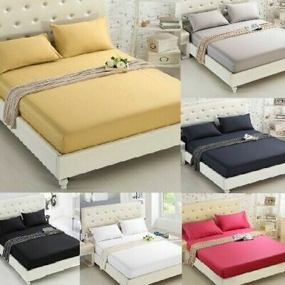 £4.99 • Buy Full Fitted Sheet Bed Sheets 100% Poly Cotton Single Double King Super King Size